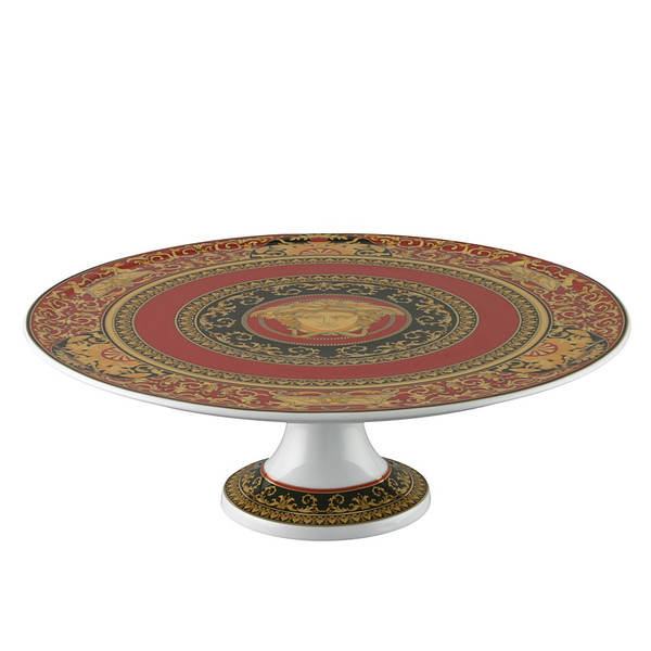 Footed Cake Plate, Porcelain, 13 inch | Versace Medusa Red