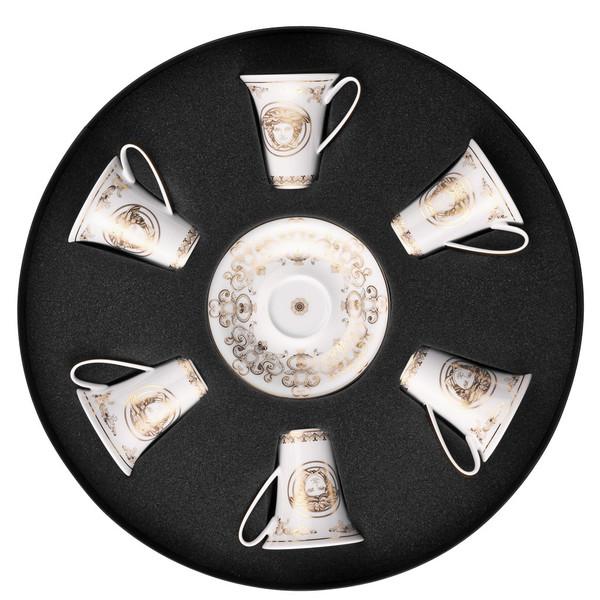 Set/Six Espresso Cup & Saucers Round Hat Box | Versace Medusa Gala