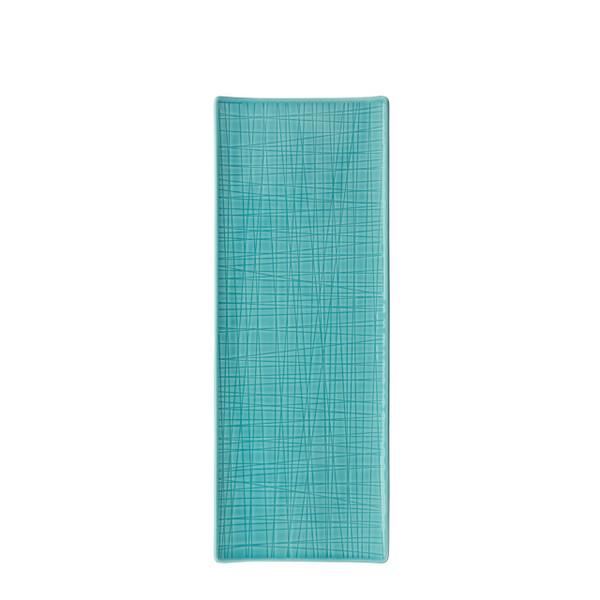 Platter flat rectangular, 13 1/2 x 5 inch | Mesh Aqua