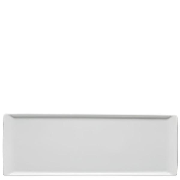 Plate flat rectangular, 16 1/8 x 6 inch   Mesh White
