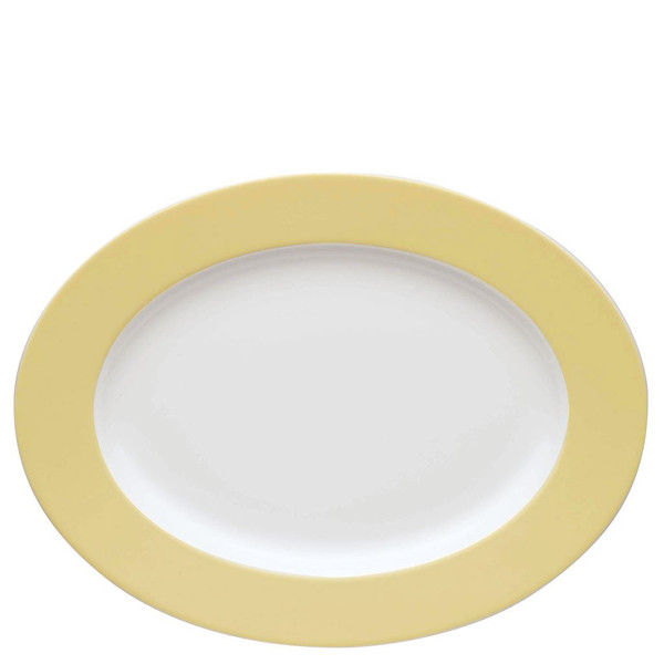 Oval Serving Platter, 13 inch | Sunny Day Pastel Yellow