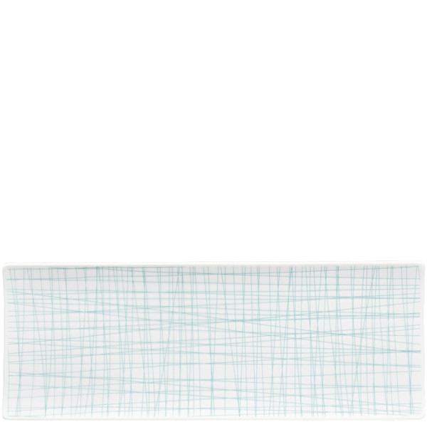 Rectangular Platter, 13 1/2 x 5 inch | Mesh Lines Aqua