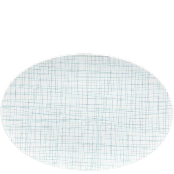 Oval Platter, 15 inch   Rosenthal Mesh Lines Aqua