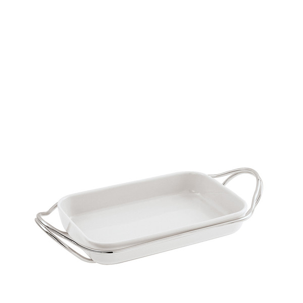 Rectangular Dish in Holder, Mirror finish, 13 3/4 x 8 2/3 inch | Sambonet New Living Mirror