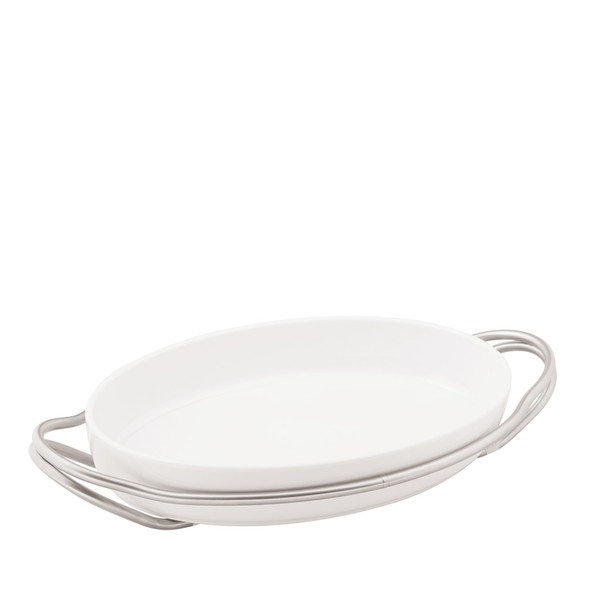 Oval Dish in Holder, Antico finish, 15 1/4 x 10 1/2 inch | Sambonet New Living Antico