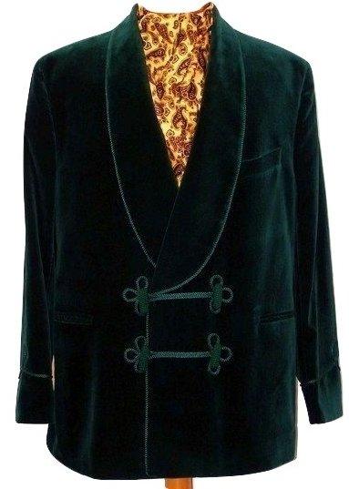Green velvet smoking jacket