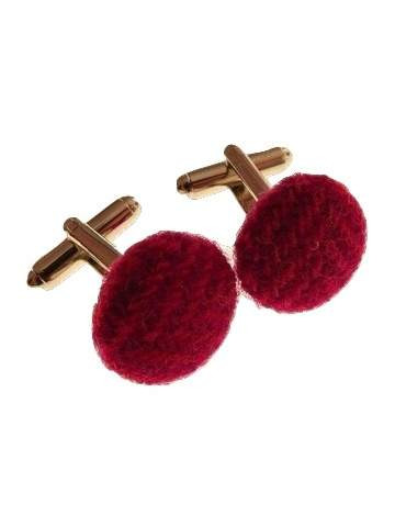 Pink tweed cufflinks