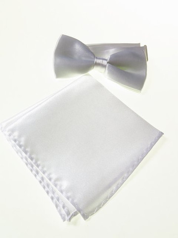 White bow tie and pocket square set