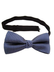 Blue and silver bow tie