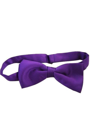 Purple satin bow tie