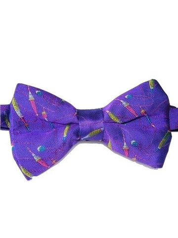 Fishing themed bow tie purple silk new tweedmans vintage for Fish bow tie