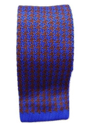 Knitted silk tie blue brown