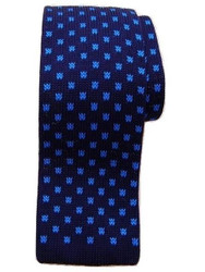 Knitted silk tie navy blue