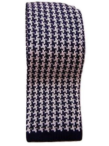 Knitted silk tie navy white