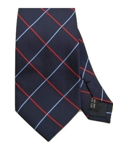 Check pattern silk tie
