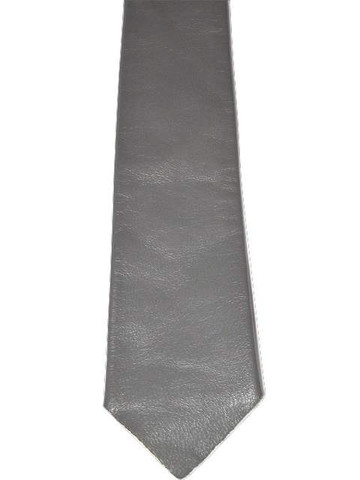 Grey leather tie