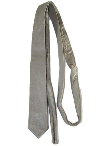 Grey leather neck tie mens