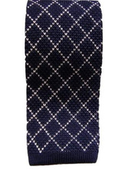 Navy white wool knitted tie