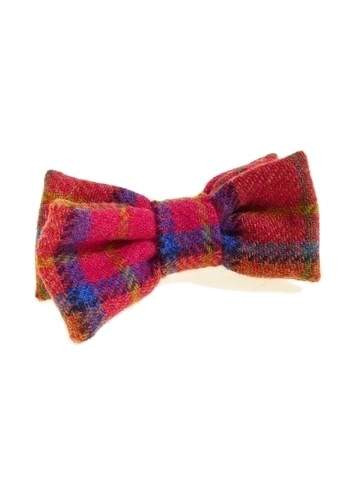 Plaid tweed bow tie