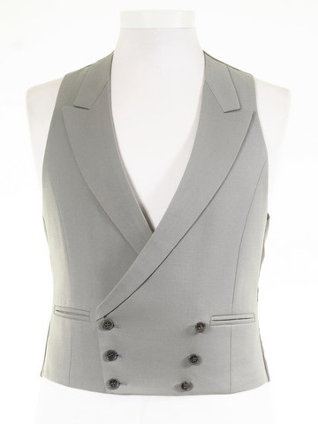 Dove grey double breasted waistcoat