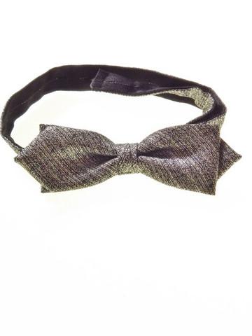 Diamond point bow tie metallic silver