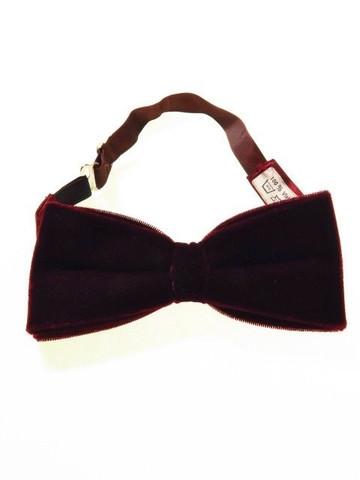 Wine velvet bow tie