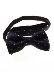 Navy white spotted bow tie