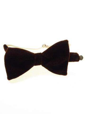Brown velvet bow tie