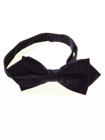Navy moire diamond point bow tie