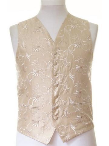 Gold patterned wedding waistcoat