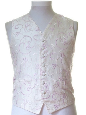 Ivory pale pink patterned wedding waistcoat