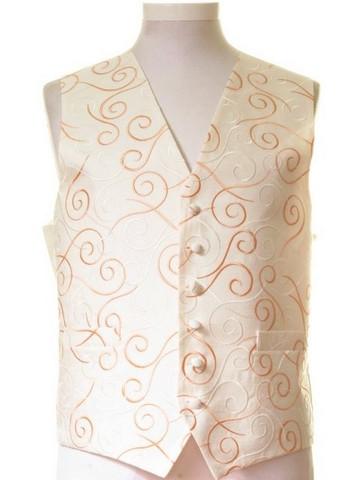Ivory orange swirl wedding waistcoat