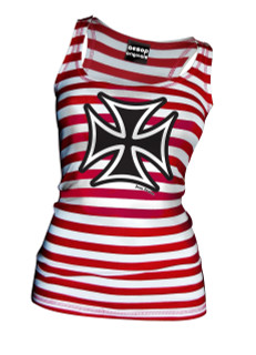 Thee Iron Cross Red and White Striped Tank Top - Tank Top Aesop Originals Clothing (Red - White)