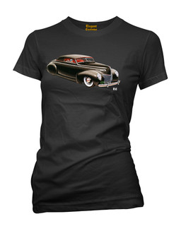 1939 - 1940 Mercury Convertible Coupe - Tee Shirt Elegant Customs Clothing (Black)