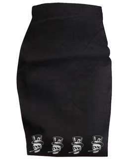 Old Skull Top Hat - High Waisted Pencil Skirt Aesop Originals Clothing (Black)