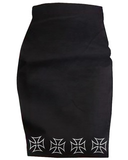 Thee Iron Cross - High Waisted Pencil Skirt Aesop Originals Clothing (Black)