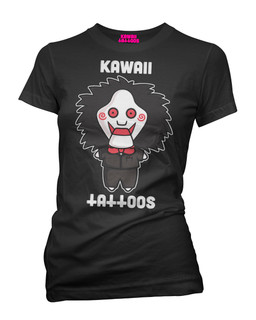 Jigsaw Billy Puppet - Parody Tee Shirt Kawaii Tattoos Clothing (Black)