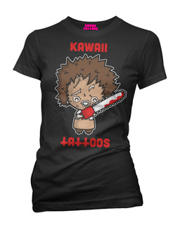 Leatherface - Parody Tee Shirt Kawaii Tattoos Clothing (Black)