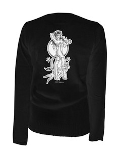 Leo - Retro Zodiac Pinup Tattoo - Cardigan Aesop Originals Clothing (Black)