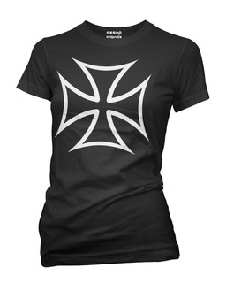 Hot Rod Iron Cross - Tee Shirt Aesop Originals Clothing (Black)