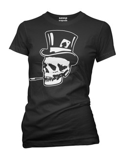 Old Skull Top Hat - Tee Shirt Aesop Originals Clothing (Black)