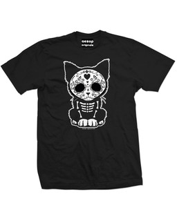 Day Of The Dead Sugar Skull Kitten Cat - Mens Tee Shirt Aesop Originals Clothing (Black)