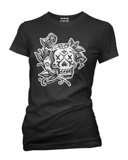 La Rosa Day Of The Dead Skull Tattoo - Tee Shirt Aesop Originals Clothing (Black)
