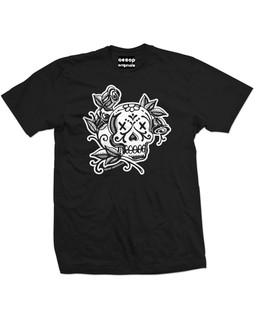 La Rosa Day Of The Dead Skull Tattoo - Mens Tee Shirt Aesop Originals Clothing (Black)