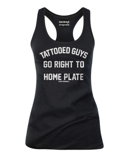 Tattooed Guys Go Right To Home Plate - Tank Top Aesop Originals Clothing (Black)