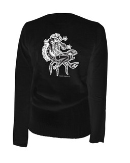 Scorpio - Retro Zodiac Pinup Tattoo - Cardigan Aesop Originals Clothing (Black)