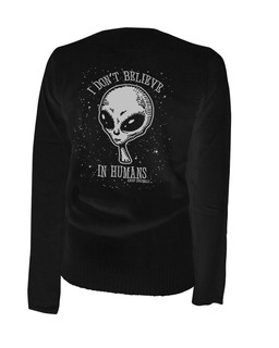 I Don't Believe In Humans - Alien Cardigan Aesop Originals Clothing (Black)