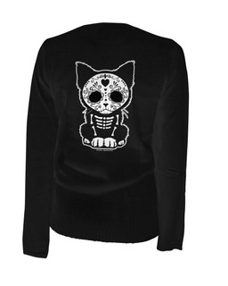 Day Of The Dead Sugar Skull Kitten Cat - Cardigan Aesop Originals Clothing (Black)