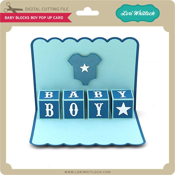 Baby Blocks Boy Pop Up Card - Lori Whitlock's SVG Shop