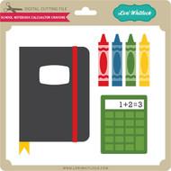 School Notebook Calculator Crayons